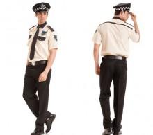 Özel Güvenlik Gömleği Krem Kısakol Kravat Yaka Modelli Omuz Biyeli Klasik Siyah Pantolon