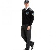 Özel Güvenlik Kazağı Sihay Modelli V Yaka - Gri Robalı Kışlık Füme Pantolon
