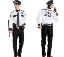 Güvenlik Beyaz Gömlek Modelli Omuz Biyeli Komando Cepli Pantolon