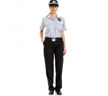 Özel Güvenlik Bayan Gömleği Gri Apaş Yaka Yazlık
