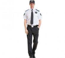 Özel Güvenlik Erkek Gömleği Yazlık Beyaz Kravat Yaka Füme Pantolon