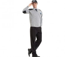 Özel Güvenlik Kazağı Gri V Yaka - Kışlık Siyah Pantolon