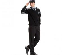 Özel Güvenlik Kazağı Sihay Modelli V Yaka Gri Robalı - Kışlık Siyah Pantolon